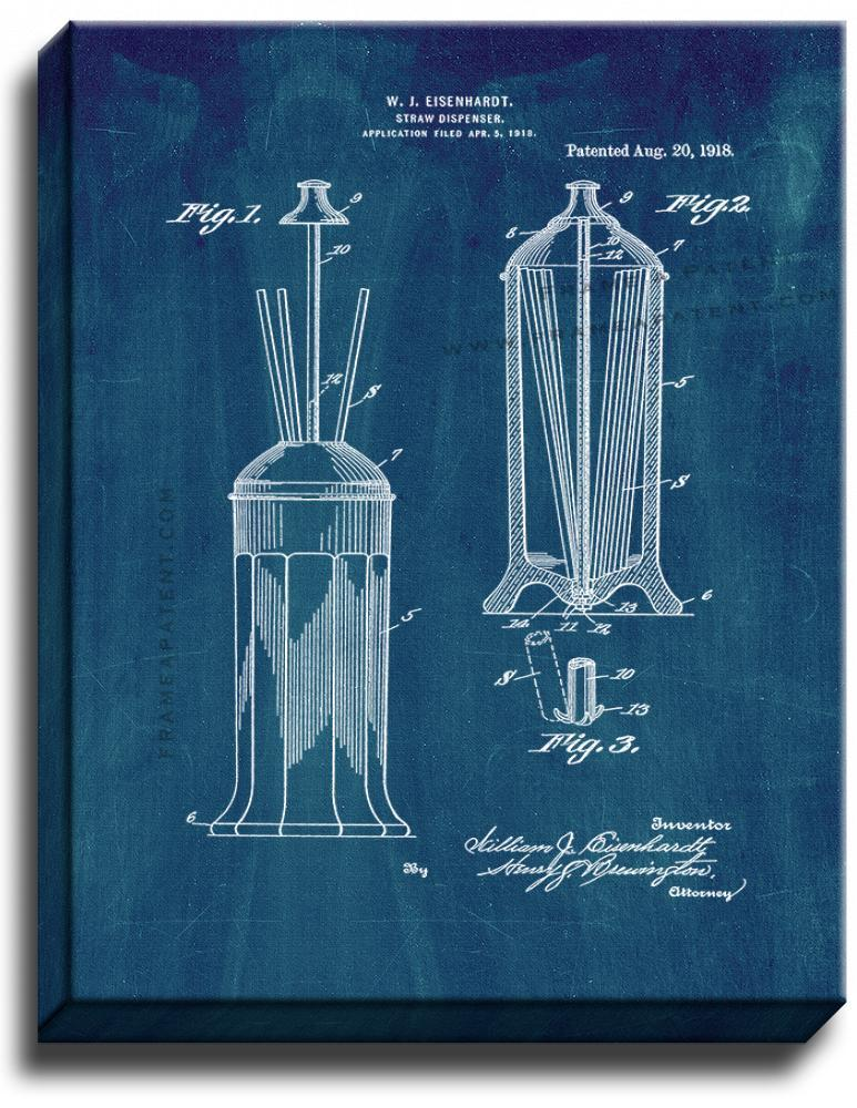 Primary image for Drinking Straw Dispenser Patent Print Midnight Blue on Canvas