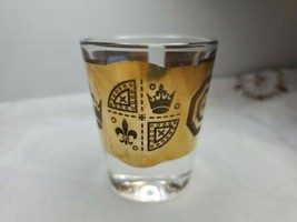 Vito Bari Crystal MCM Shot Glass Black & 22k Gold Fleur-de-lis Made in P... - $27.71