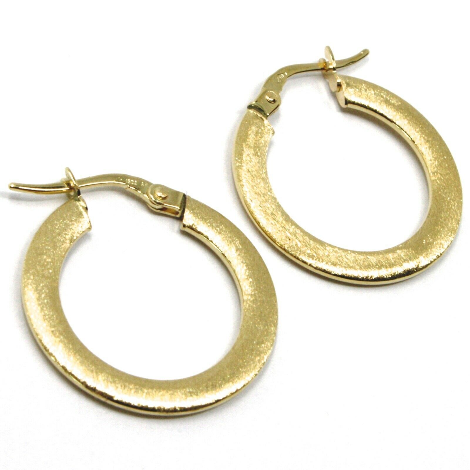 18K YELLOW GOLD CIRCLE HOOPS 3x1mm, EARRINGS 20mm, DOUBLE FACE SMOOTH & SATIN