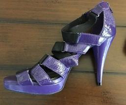 GIANNI Bini Purple Patent Leather Black Straps Open Toe High Heel Sz-9.5 M - $32.73