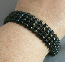 Vintage Signed Weiss black rhinestone multistrand link Bracelet black en... - $49.49