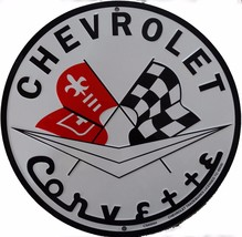Chevrolet Corvette Logo Round Metal Sign - $14.95