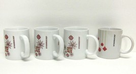 STARBUCKS COFFEE COMPANY LOT (4) 12 oz WHITE HOLIDAY FLORAL PRINT CUPS/M... - $54.31