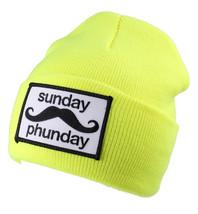 Team Phun Sunday Phunday Neon Orange Pink Yellow Green Skullie Hat Beanie Hat NW