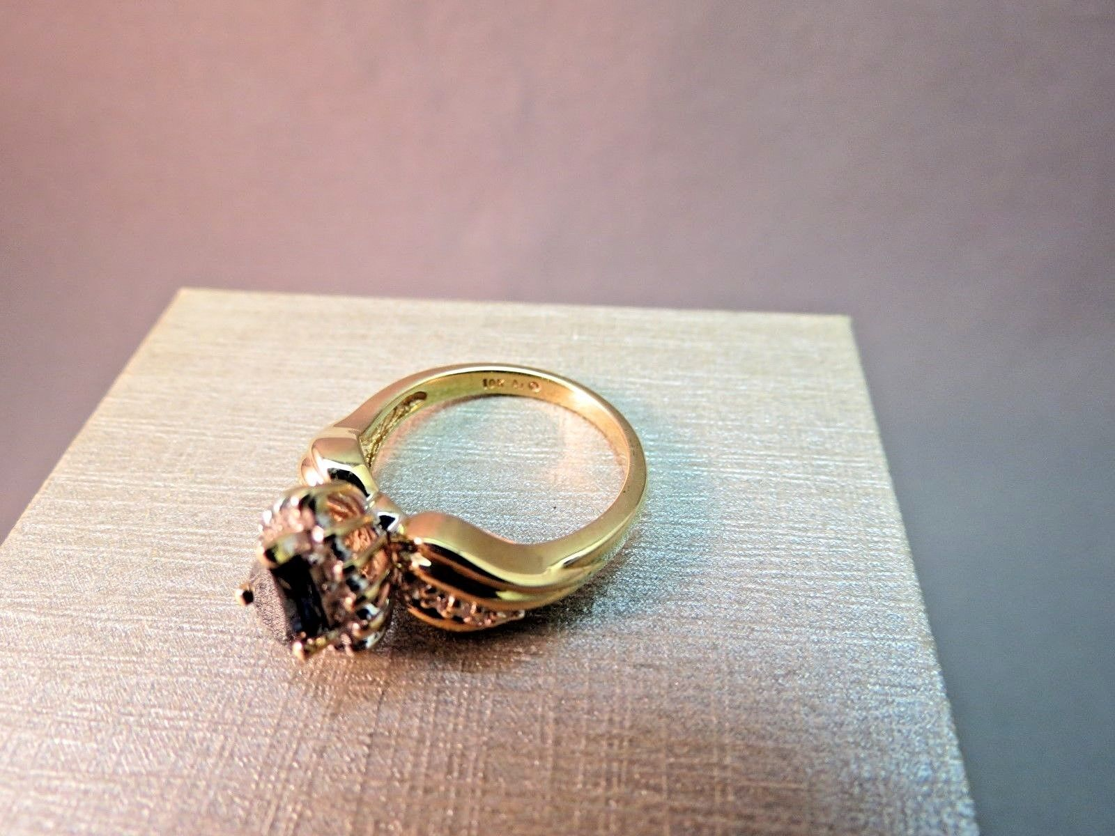 10k Yellow Gold Diamond Accent Pear Blue Sapphire Ring 4.7g Size 7 AJ Designer
