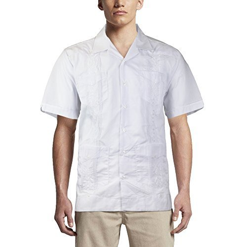 Alberto Cardinali Men's Guayabera Short Sleeve Cuban Casual Dress Shirt (S, Whit