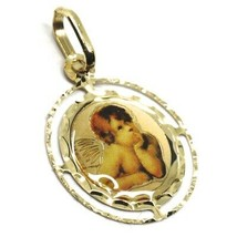 SOLID 18K YELLOW ROUND GOLD MEDAL, GUARDIAN ANGEL 18 mm, WITH FRAME, ENAMEL image 2