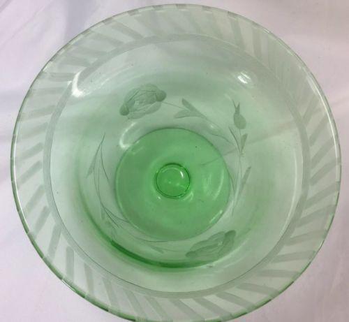 7 Piece Lot Vaseline Uranium Glass Sherbets, Cup, Compote