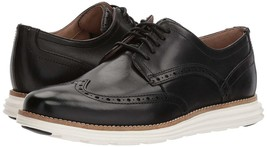 Neuf Homme Cole Haan Original Grand Shortwing Noir Robe Ivoire Chaussures 10 image 2