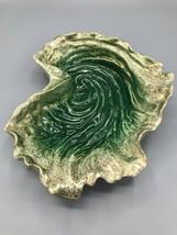 Vintage Hedi Schoop Oyster Dish Bowl Green & Gold  - $67.32