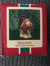 Vintage Hallmark Keepsake Ornament 1987 Reindoggy Dog with Tied-on Antlers - $9.95
