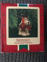 Vintage Hallmark Keepsake Ornament 1987 Reindoggy Dog with Tied-on Antlers - $9.95