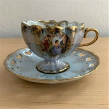 Vintage Lefton China Gold Trimmed Cup & Saucer Hand Painted Pattern 20583 - $32.18