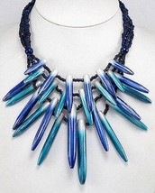 Blue Seed Bead Turquoise Handpainted Spike Fashion Statement Necklace - $19.20