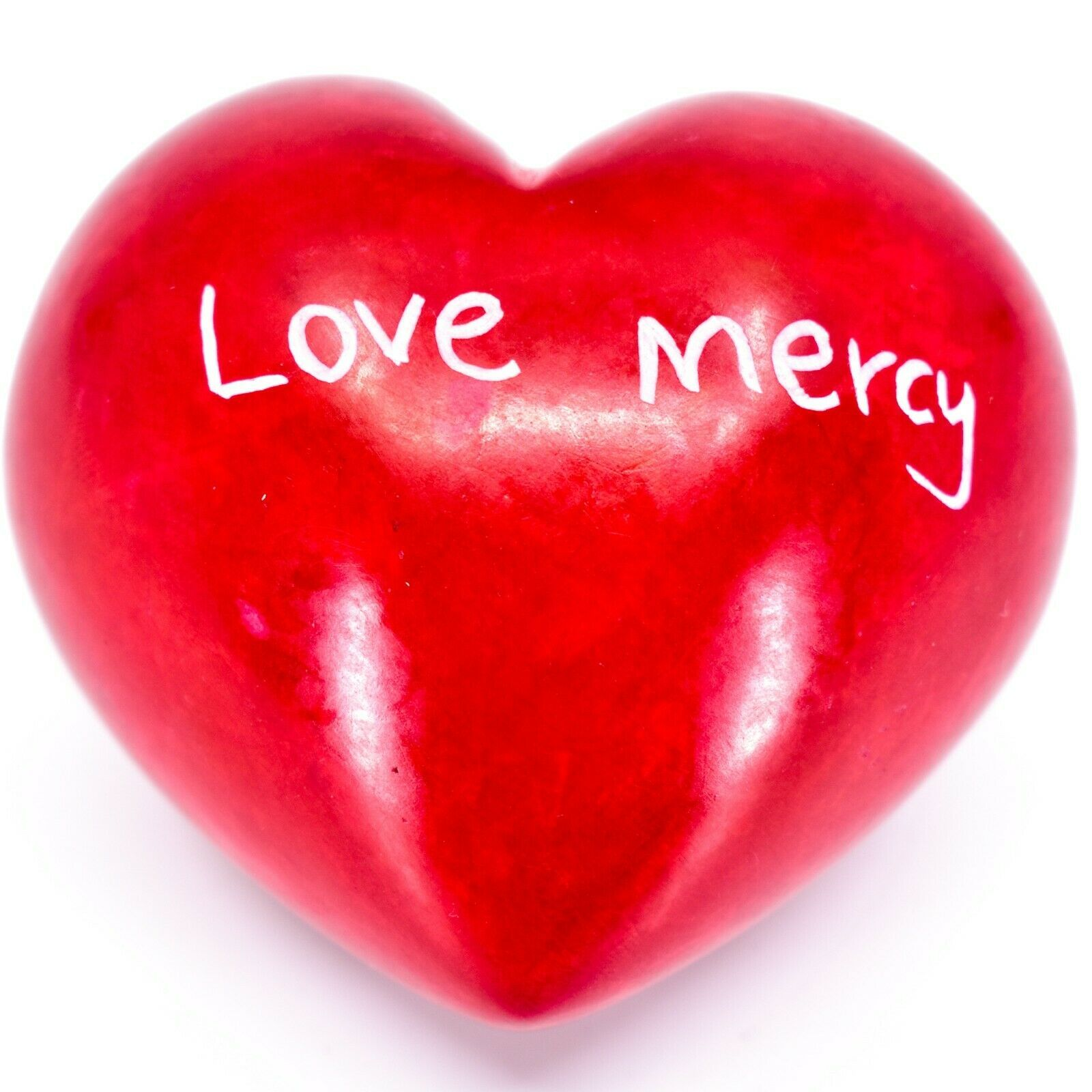 Vaneal Group Hand Carved Soapstone Justice/Mercy 2-Sided Red Heart Paperweight