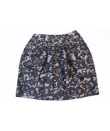 W11907 Womens BANANA REPUBLIC black/gray lace print, front pleat SILK SK... - $32.84