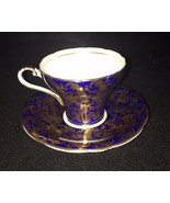 Beautiful!! Cobalt Blue with Gold Flower Aynsley Tea Cup and Saucer - $51.43
