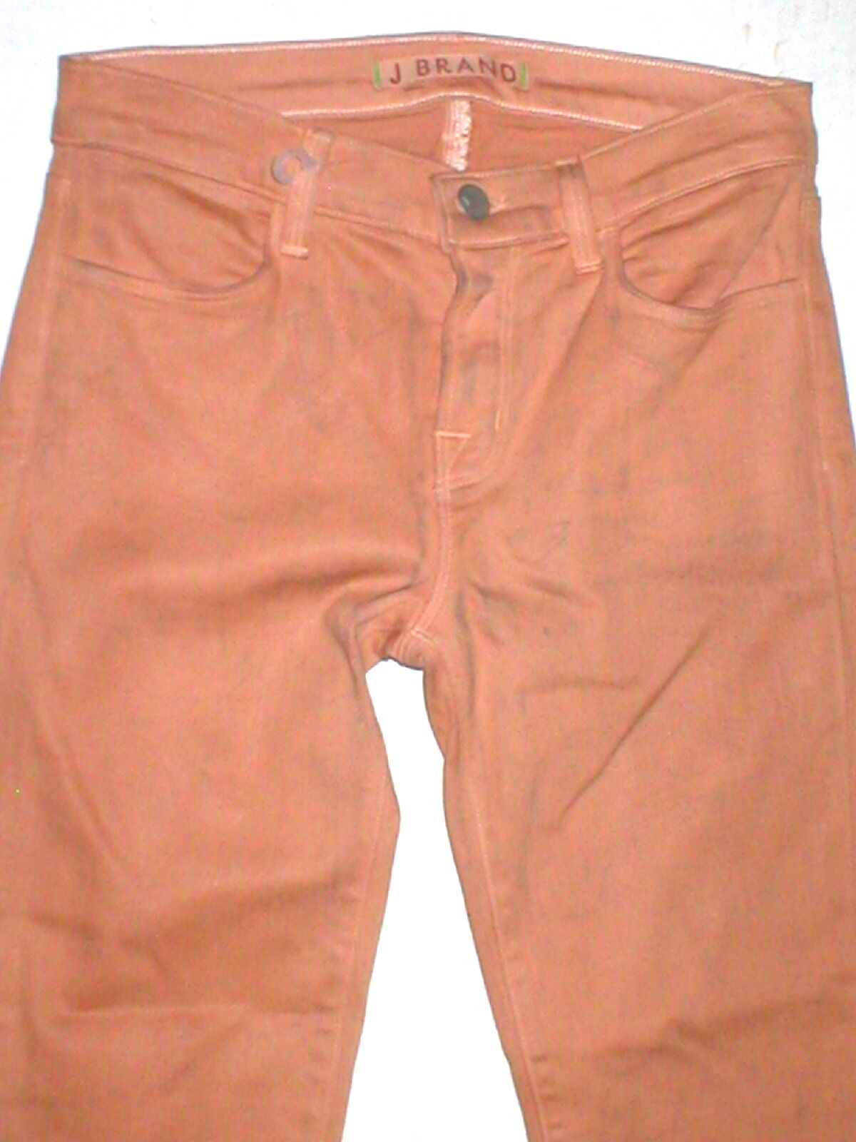 New J Brand Jeans Skinny Womens Coated Peach Leather Mid 26 Tigers Eye Pants USA image 3