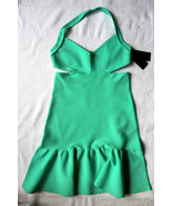 NWT GUESS Designer Sultry Sea Green Pop Mirage Cut Out Halter Dress L $138 - $69.00