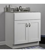 "JSI Dover 30"" White Two Door Single Bathroom Vanity Cabinet w/ Solid Woo... - €256,01 EUR"