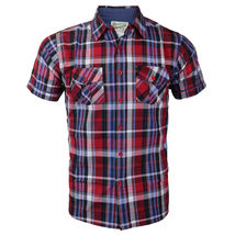 Overdrive Men's Cotton Plaid Button Up Casual Short Sleeve Slim Fit Dress Shirt image 7
