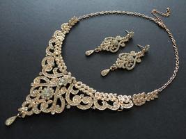 Romantic rose gold wedding bridal Swarovski rhinestones crystal necklace... - $29.99