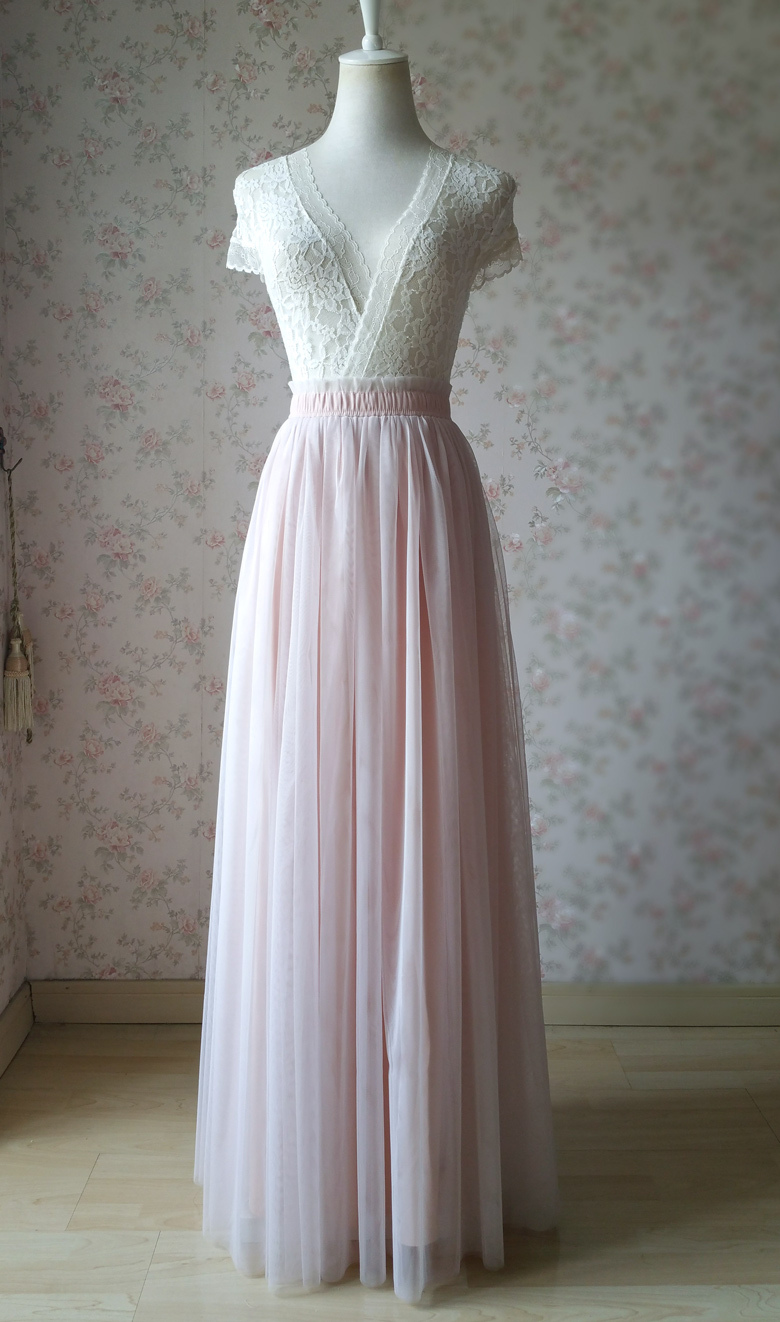 Women's High Waist Long Tulle Skirt Coral Pink Wedding Party Guest Tulle Skirt