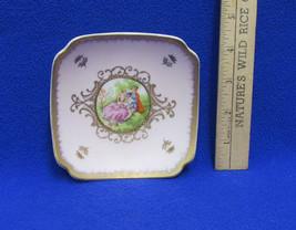 Lefton China Small Trinket Dish Plate Jewelry Holder English Couple Lovers - $12.86