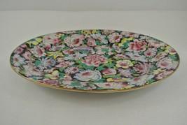 Zhongguo Jingdezhen Famille Noir Serving Plate 1000 Flower China Vtg Dim... - $26.91