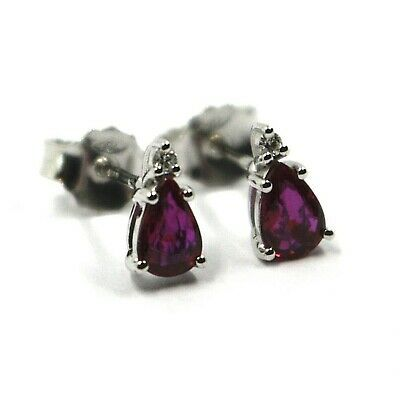 18K WHITE GOLD RUBY EARRINGS 0.92 CARATS, DROP CUT, TWO DIAMONDS 0.03 CARATS