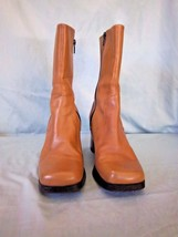 Ann Marino Leather Mid-Calf Boots Brown Womens Size 6.5 Zip-Up Square To... - $21.57