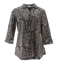 Liz Claiborne NY Paisley Printed Button Front Tunic Black Multi 4 NEW A267257 - $32.65