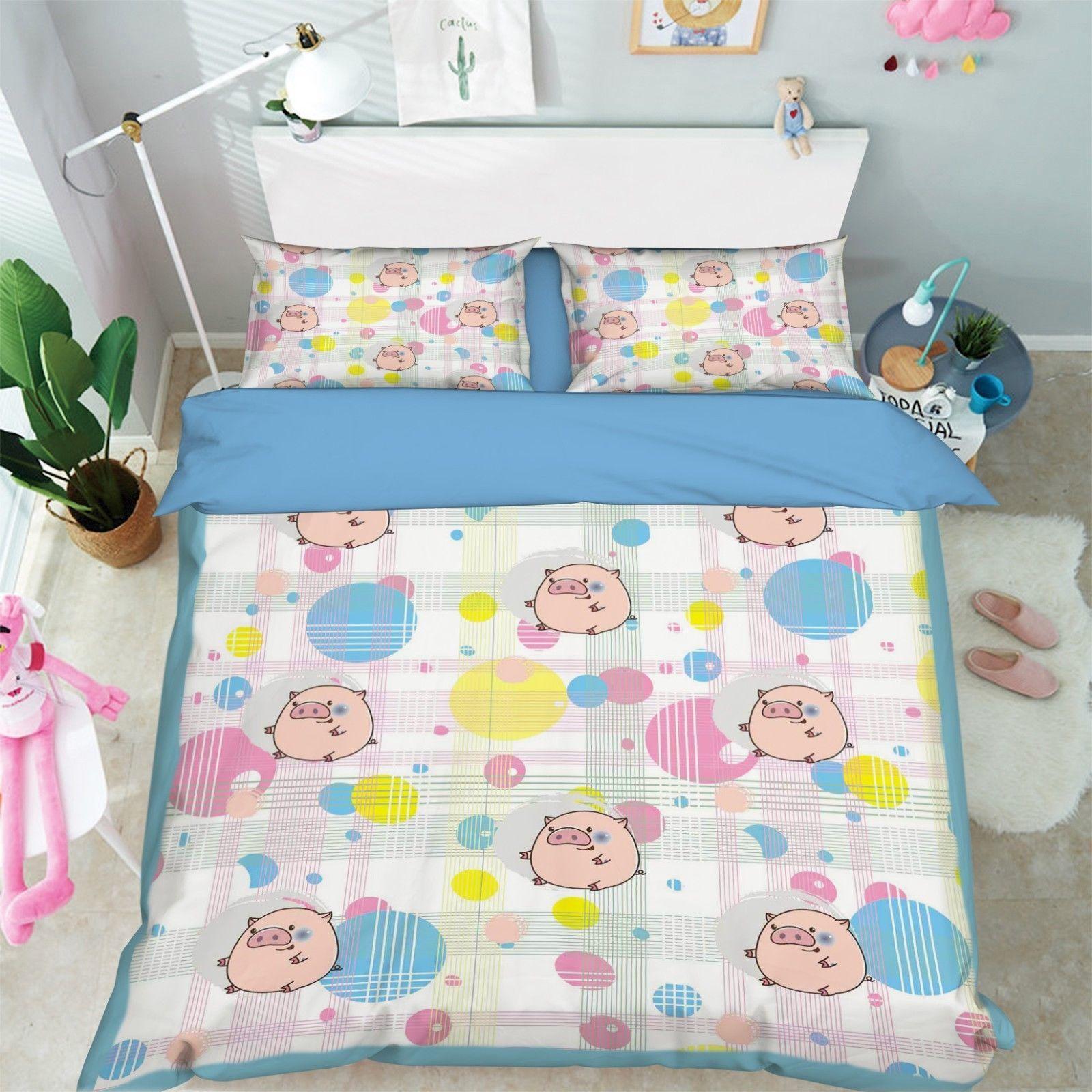 3D Cartoon Pig 1 Bed Pillowcases Quilt Duvet Cover Set Single Queen King Size AU - $90.04 - $122.20