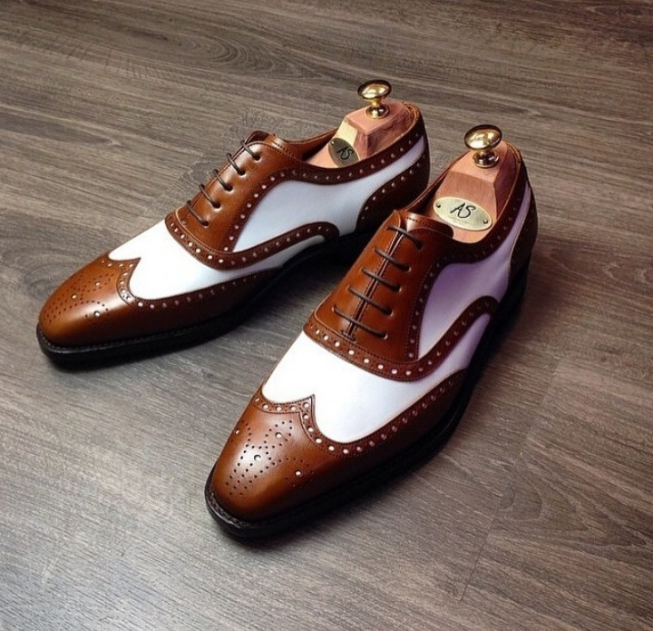 Primary image for New Men's Ankle Leather Shoes, Handmade Brown White Formal Shoes