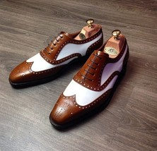 New Men's Ankle Leather Shoes, Handmade Brown White Formal Shoes  - $139.00 - $179.97