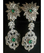 2.50cts rose cut diamond emerald antique victorian silver dangler earrin... - $659.80