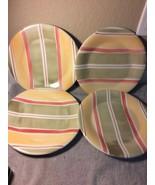 (4)  PIER 1  VALENCIA DINNER PLATES--STRIPED--ITALY---FREE SHIP--VGC - $39.70