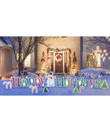 Happy Holidays Yard Sign Decoration Holiday Christmas Outdoor XMAS Lawn ... - $119.99