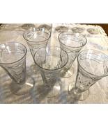 Antique etched crystal liquor glasses vintage glassware barware 5 pieces - $25.00