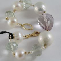 18K YELLOW GOLD BRACELET WITH BIG WHITE PEARLS AMETHYST PRASIOLITE MADE IN ITALY image 3