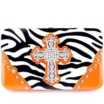 Gorgeous! Soft Zebra Rhinestone Cross Flat Wallet Clutch Purse in Multi-... - $14.69
