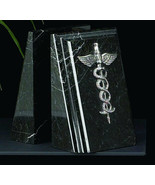 Bookends Medical Caduceus Black Marble  desk sculpture gift decor Bey-Berk - $120.00