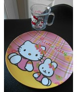 Hello Kitty 2 pc set Melamine Plate Plastic Cup - $8.59
