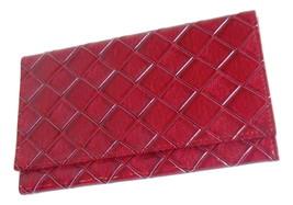 Trifold Estee Lauder Wallet In Deep Red Diamond Lattice Pattern With Mirror - $8.95