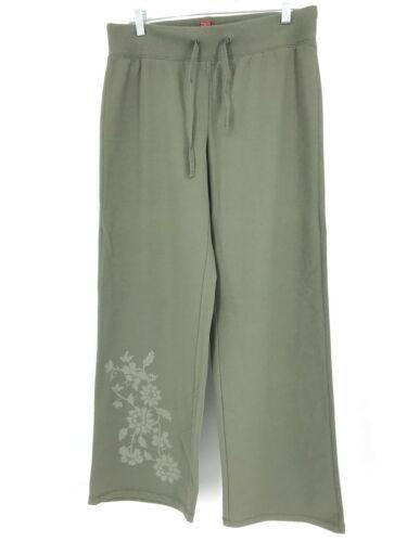 Sundance Größe M Jogginghose Weites Bein Olivgrün Blumenmuster Anziehen