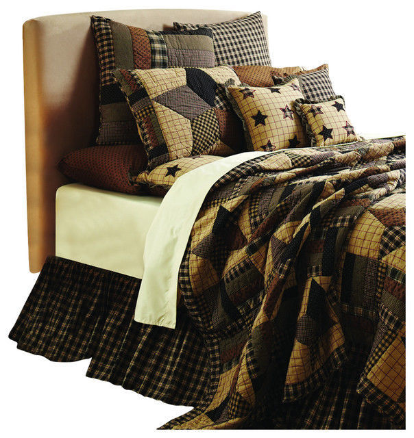 9-pc Bingham Star Luxury California King Quilt Set - Black, Tan, Red -VHC Brands