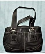 Authentic COACH Soho Black Leather Carryall Tote Handbag Satchell F10911  - $50.50