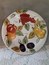 Oneida Vintage Fruit Hand Painted Dinner Plate Blue Trim~ apples, grapes, pears~ - $14.84