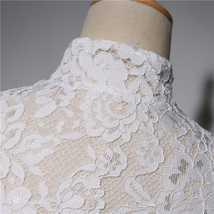 Empire Style Long Sleeve Lace Crop Top Button Down Wedding Lace Crop Top Shirts image 4