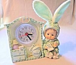 Nursery baby tabletop clock pastel green resin bunny plush bendable ears  - $16.45